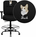 Embroidered HERCULES Series Big & Tall 400 lb. Rated Black Fabric Drafting Chair with Adjustable Arms