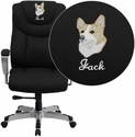 Embroidered HERCULES Series Big & Tall 400 lb. Rated Black Fabric Executive Swivel Chair with Adjustable Arms