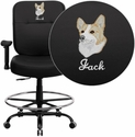 Embroidered HERCULES Series Big & Tall 400 lb. Rated Black Leather Drafting Chair with Adjustable Arms