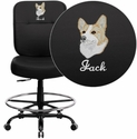Embroidered HERCULES Series Big & Tall 400 lb. Rated Black Leather Drafting Chair