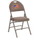 Embroidered HERCULES Series Ultra-Premium Triple Braced Beige Fabric Metal Folding Chair with Easy-Carry Handle [HA-MC705AF-3-BGE-EMB-GG]