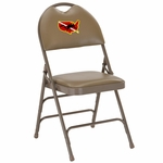 Embroidered HERCULES Series Ultra-Premium Triple Braced Beige Vinyl Metal Folding Chair with Easy-Carry Handle [HA-MC705AV-3-BGE-EMB-GG]