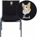 Embroidered HERCULES Series Heavy Duty Black Dot Fabric Stack Chair
