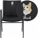 Embroidered HERCULES Series Heavy Duty Black Vinyl Stack Chair with Arms