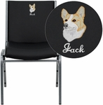 Embroidered HERCULES Series Heavy Duty Black Vinyl Stack Chair [XU-60153-BK-VYL-EMB-GG]