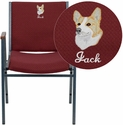 Embroidered HERCULES Series Heavy Duty Burgundy Patterned Fabric Stack Chair with Arms