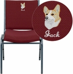 Embroidered HERCULES Series Heavy Duty Burgundy Patterned Fabric Stack Chair [XU-60153-BY-EMB-GG]