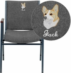Embroidered HERCULES Series Heavy Duty Gray Fabric Stack Chair with Arms [XU-60154-GY-EMB-GG]