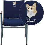 Embroidered HERCULES Series Heavy Duty Navy Blue Dot Fabric Stack Chair with Arms [XU-60154-NVY-EMB-GG]