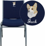Embroidered HERCULES Series Heavy Duty Navy Blue Dot Fabric Stack Chair [XU-60153-NVY-EMB-GG]
