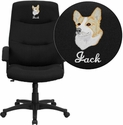 Embroidered High Back Black Fabric Executive Swivel Chair with Arms