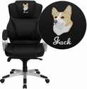 Embroidered High Back Black Leather Contemporary Executive Swivel Chair