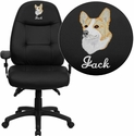 Embroidered High Back Black Leather Multifunction Executive Swivel Chair with Adjustable Arms