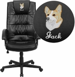 Embroidered High Back Black Leather Executive Swivel Chair with Arms [GO-7102-EMB-GG]