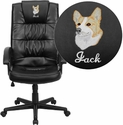 Embroidered High Back Black Leather Executive Swivel Chair with Arms