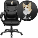 Embroidered High Back Black Leather Overstuffed Executive Swivel Chair with Arms