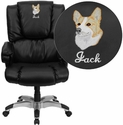Embroidered High Back Black Leather OverStuffed Executive Swivel Chair with Fully Upholstered Arms