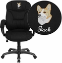 Embroidered High Back Black Microfiber Contemporary Executive Swivel Chair with Arms