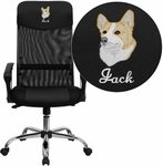Embroidered High Back Black Leather and Mesh Swivel Task Chair with Arms [BT-905-EMB-GG]