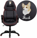 Embroidered High Back Black Vinyl Executive Swivel Chair with Red Piping and Arms