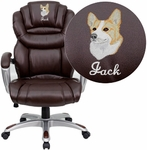 Embroidered High Back Brown Leather Executive Swivel Chair with Arms [GO-901-BN-EMB-GG]