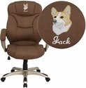 Embroidered High Back Brown Microfiber Contemporary Executive Swivel Chair with Arms