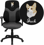 Embroidered High Back Ergonomic Black and Gray Mesh Swivel Task Chair with Adjustable Arms [BT-6001-GYBK-EMB-GG]