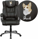Embroidered High Back Espresso Brown Leather Executive Swivel Chair with Arms