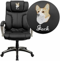 Embroidered High Back Folding Black Leather Executive Swivel Chair with Arms