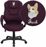 Embroidered High Back Grape Microfiber Contemporary Executive Swivel Chair with Arms [GO-725-GRPE-EMB-GG]