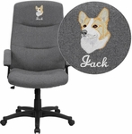 Embroidered High Back Gray Fabric Executive Swivel Chair with Arms [BT-134A-GY-EMB-GG]