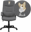 Embroidered High Back Gray Fabric Executive Swivel Chair with Arms