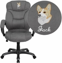 Embroidered High Back Gray Microfiber Contemporary Executive Swivel Chair with Arms
