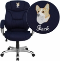 Embroidered High Back Navy Blue Microfiber Contemporary Executive Swivel Chair with Arms