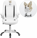Embroidered High Back White Leather Executive Swivel Chair with Flip-Up Arms