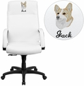Embroidered High Back White Leather Executive Swivel Chair with Memory Foam Padding with Arms