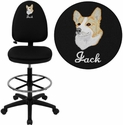 Embroidered Mid-Back Black Fabric Multifunction Drafting Chair with Adjustable Lumbar Support