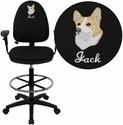 Embroidered Mid-Back Black Fabric Multifunction Drafting Chair with Adjustable Lumbar Support and Adjustable Arms