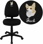 Embroidered Mid-Back Black Fabric Multifunction Swivel Task Chair with Adjustable Lumbar Support [WL-A654MG-BK-EMB-GG]