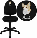 Embroidered Mid-Back Black Fabric Multifunction Swivel Task Chair with Adjustable Lumbar Support