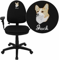 Embroidered Mid-Back Black Fabric Multifunction Swivel Task Chair with Adjustable Lumbar Support and Adjustable Arms