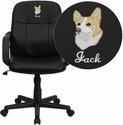 Embroidered Mid-Back Black Glove Vinyl Executive Swivel Chair with Arms