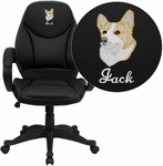 Embroidered Mid-Back Black Leather Contemporary Executive Swivel Chair with Arms [H-HLC-0005-MID-1B-EMB-GG]