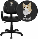 Embroidered Mid-Back Black Leather Ergonomic Swivel Task Chair with Arms