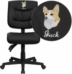 Embroidered Mid-Back Black Leather Multifunction Swivel Task Chair [GO-1574-BK-EMB-GG]