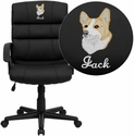 Embroidered Mid-Back Black Leather Swivel Task Chair with Arms