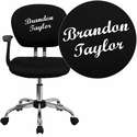 Embroidered Mid-Back Black Mesh Swivel Task Chair with Chrome Base and Arms