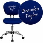 Embroidered Mid-Back Blue Mesh Swivel Task Chair with Chrome Base [H-2376-F-BLUE-EMB-GG]