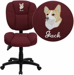 Embroidered Mid-Back Burgundy Fabric Multifunction Ergonomic Swivel Task Chair [GO-930F-BY-EMB-GG]