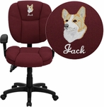 Embroidered Mid-Back Burgundy Fabric Multifunction Ergonomic Swivel Task Chair with Adjustable Arms [GO-930F-BY-ARMS-EMB-GG]